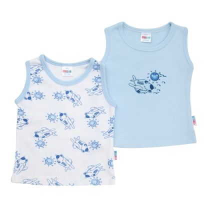 2 Pcs Baby Vest - Blue - Kid Studio