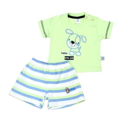 Hello Little Pup T-shirt & Short Set - Green/white - TOFFYHOUSE