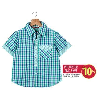 Check Shirt With Tabs Green Check - Beebay