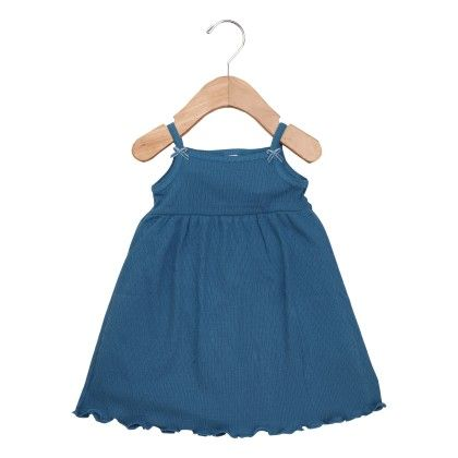 Blue Singlet Dresses With Ribbon Bow - Petit Bateau