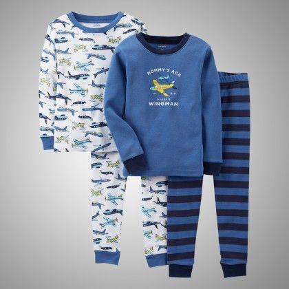 4 Piece Snug Fit Half Sleeve Top And Pajama Set - Airplane Print - Carter's