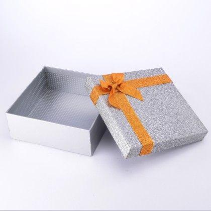 Silver Big Glitter Gift Box - The Gift Box