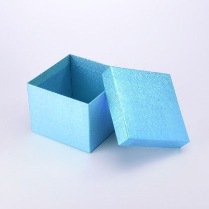 Big Turquiose Blue Shimmer Box  With  Saparate Silver Bow - The Gift Box