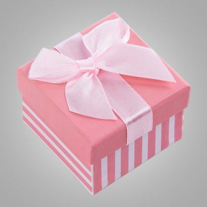 Stripe Print Paper Gift Box - Set Of 6 - Ribbon