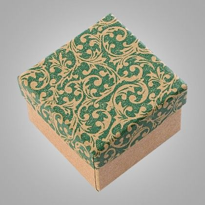 Vintage Design Print Green Paper Gifts Box - Set Of 6 - Ribbon