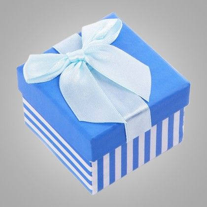 Stripe Print Paper Gift Box - Set Of 6 - Ribbon - 56937