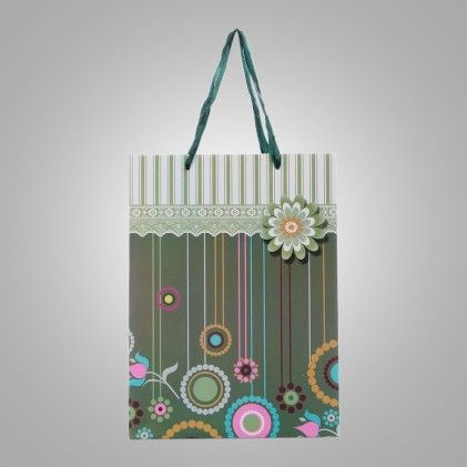 Green Strip & Flower Design Medium Paper Bag - Set Of 3 - Ribbon