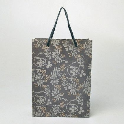 Grey Vintage Print Brown Paper Gift Bags - Set Of  6 - Ribbon