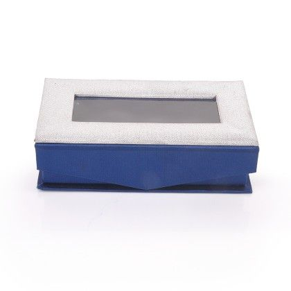 Rectangle Silver Shimmer With Navy Blue  Satin - The Gift Box