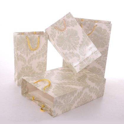 Handmade Paper With One Gold Emblem - Off White - The Gift Bag
