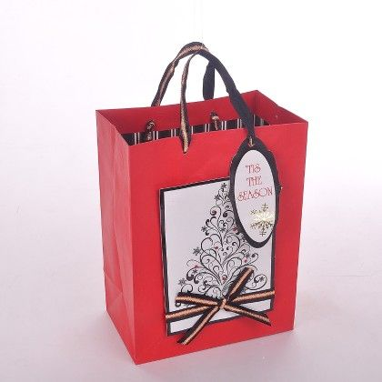 Red White & Black Brown With Gift Tag - The Gift Bag