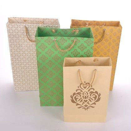 Set Of 4 Damask - Green - The Gift Bag