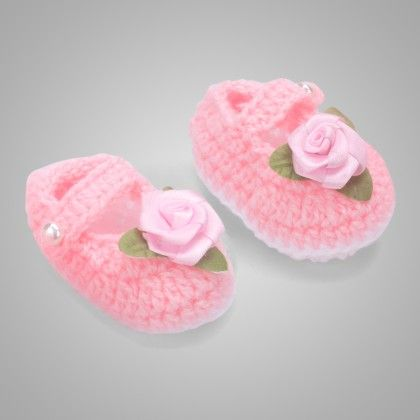 Pink & White Mary Janes With Pink Satin Flowers - Knitting Nani