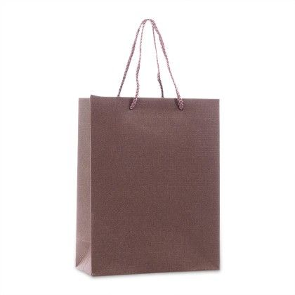 Dark Brown Gift Paper Bags - Set Of 2 - Ribbon