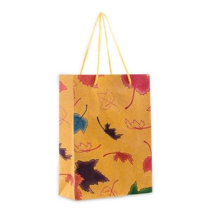 Autumn Leafs Khakhi Paper Bag - Set Of 6 - Ribbon