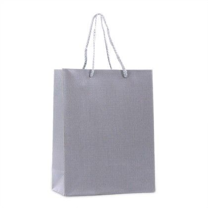 Grey Gift Paper Bags - Set Of 2 - Ribbon