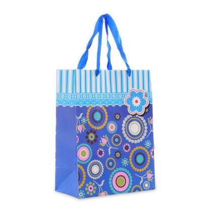 Blue Strip & Flower Design Medium Paper Bag - Set Of 3 - Ribbon
