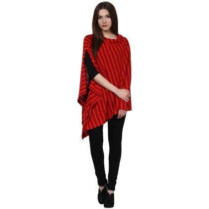 Pluchi  Fashion Poncho Cotton- Garnet- Red & Hot Red
