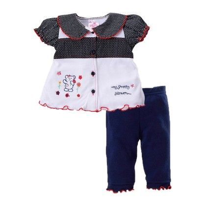 Girls Top Legging Set With Bear Embroidery - Pierre L'amour