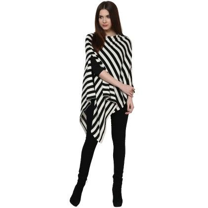 Black And White Stripe Poncho Top - Pluchi