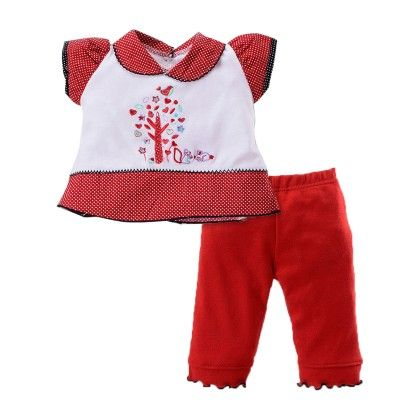 Girls Top Legging Set With Tree Embroidery Red - Pierre L'amour
