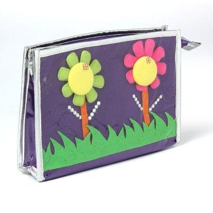 Flower 3 Zip Multipurpose Utility Kit - Purple - Li'll Pumpkins