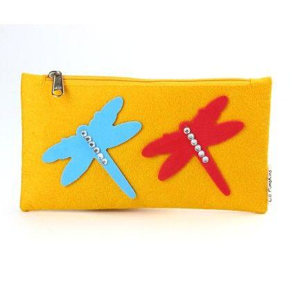 Yellow Dragon Fly Stationery Pouch - Li'll Pumpkins
