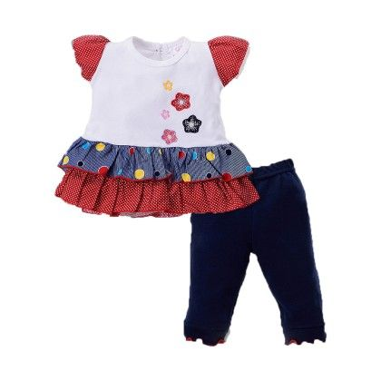 Girls Dress Legging Set With Floral Applique Navy - Pierre L'amour