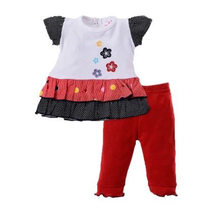 Girls Dress Legging Set With Floral Applique Red - Pierre L'amour