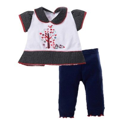 Girls Top Legging Set With Tree Embroidery Navy - Pierre L'amour