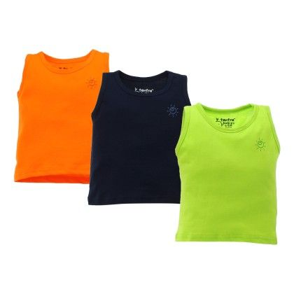 Kids Cotton Vest (flo Green Navy Blue & Flo Orange) Set Of 3 - Tantra