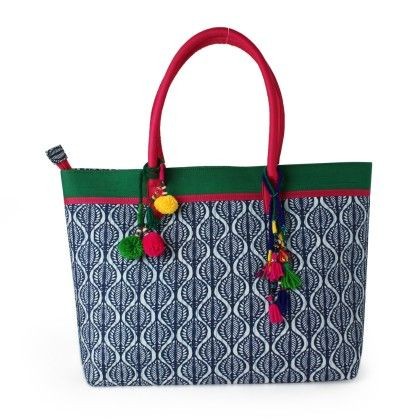 Jaipurse Big Blue And White Pin Tuck Work Printed  Cotton Handbag - Jaipur Se