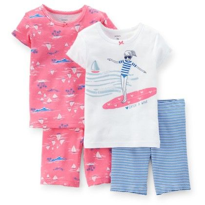 Pink & Blue 4-piece Snug Fit Cotton Pajama Set - Carter's