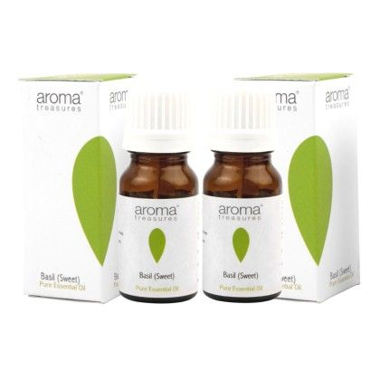 Basil (sweet)  100% Pure  Natural Essential Oil (pack Of 2) - Aroma Treasures