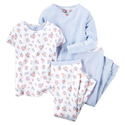 White & Blue Floral 4-piece Cotton Pajama Set - Carter's