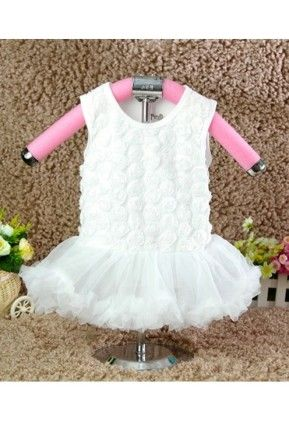 Lacy Flowery Frock White Dress For Baby Girls - D'chica