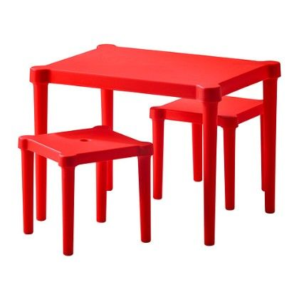 Children's Table With 2 Stools Indoor/outdoor- Red - Home Essentials