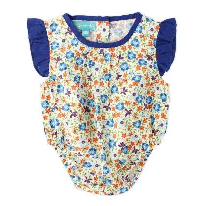 Blue Ditsy Print Baby Romper With Navy Cap Sleeve - Cupcake