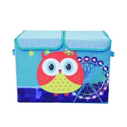Blue Double Flap Kids Storage Box Wise Owl And Ferris Wheel -  Large - Uberlyfe