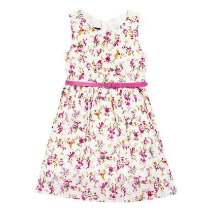 All Over Print Floral Dress With Belt Sleeveless - Fuchsia - SUPER YOUNG