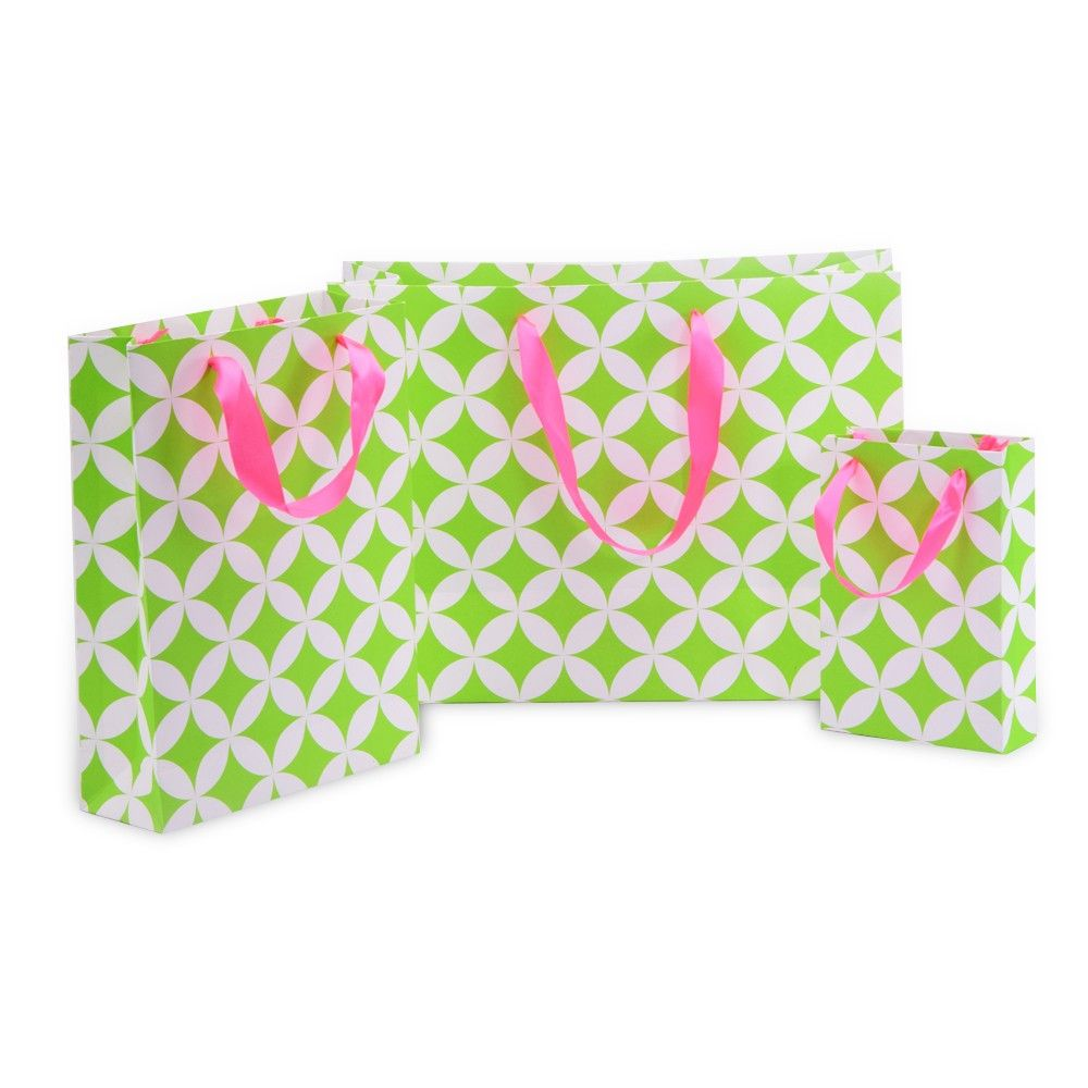 Green Moroccan Circles Gift Bag- Set Of 3 - Magnolia Design