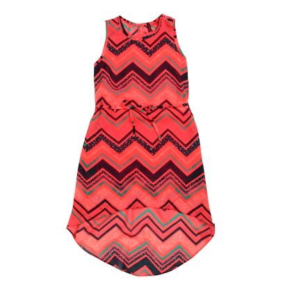 All Over Print Zig-zag  Dress Sleeveless - Pink - SUPER YOUNG