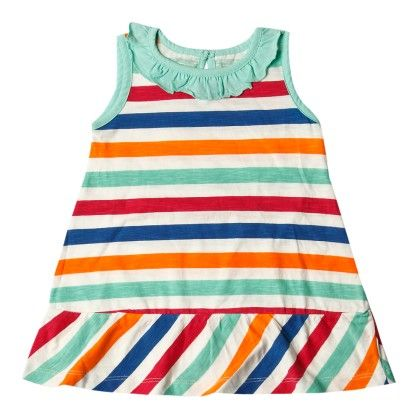 All Over Stripe Print Frock Sleeveless - Green - SUPER YOUNG