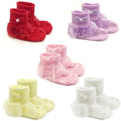 Snowy Lace Ruffle Cuff Socks For Toddler Girl (set Of 5) - Wrapables