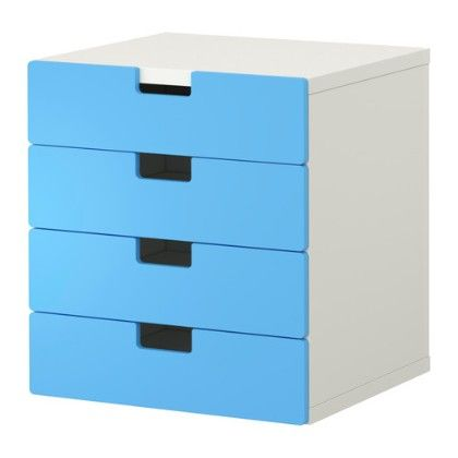 Storage Combination With Drawers- White & Blue - Home Essentials