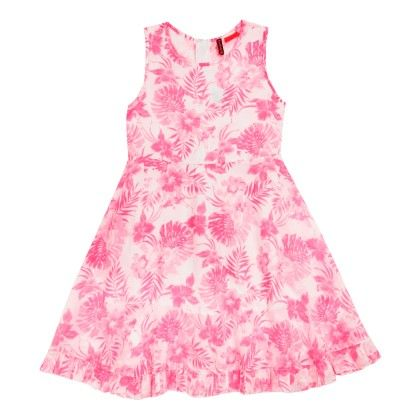 All Over Print Hawaiin Dress Sleeveless - Pink - SUPER YOUNG