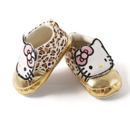 Little Kitty Gold And Animal Print Shoes For Baby Girls - D'chica