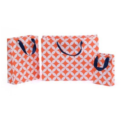 Orange Moroccan Circles Gift Bag- Set Of 3 - Magnolia Design