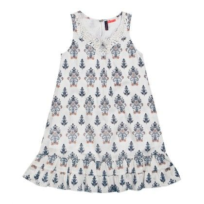 All Over Print Motif Dress Sleeveless- White - SUPER YOUNG