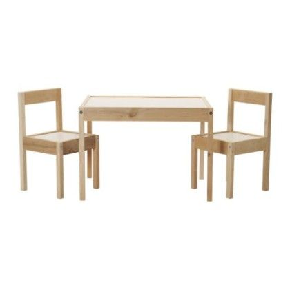 Children's Table And 2 Chairs - White & Pine - Home Essentials